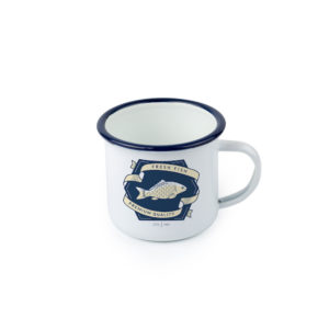 12oz Enamel Mug with Blue lip Personalised Printing Queensland
